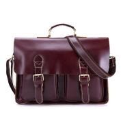 Gendi Mens Leather Retro Laptop Shoulder Bag Business Briefcase 38cm Tote Messenger Bag