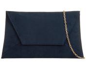 Navy Blue Envelope Clutch Bag, Faux Suede Evening Bag, Ladies Shoulder Bag, Prom Wedding Handbag