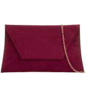 Burgundy Envelope Clutch Bag, Claret Faux Suede Evening Bag, Ladies Wine Shoulder Bag, Prom Wedding Handbag
