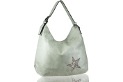FERETI Ladies shoulder bag Mint Green star design bright Crystal stones and shells
