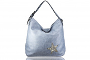 FERETI Ladies shoulder bag light Blue star design bright Crystal stones and shells