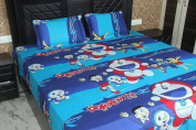 Kuber Industries Doraemon Double Bed Sheet With 2 Pillow Cover Set (254x254 cm) Glace Cotton Fabric