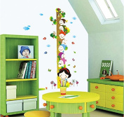 Cartoon Tree Height Measurement Wall Decal Home Sticker House Decoration WallPaper Removable Living Dinning Room Bedroom Kitchen Art Picture Murals DIY Stick Girls Boys kids Nursery Baby Playroom Decoration