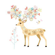 Winhappyhome Colourful Sika Deer Wall Art Stickers for Bedroom Living Room Removable Decor Decals