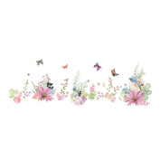 Winhappyhome Flower Birds Baseboard Skirting Line Wall Art Stickers for Bedroom Living Room Removable Decor Decals