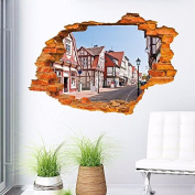 3d broken wall building window removable vinyl decal art sticker