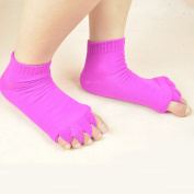LUFA 1 Pair Yoga GYM Massage Five Toe Separator Socks Foot Alignment Pain Relief Hot Roseo