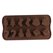 LUFA Christmas Chocolate Mould Snowman Socks Trees Silicone Cake Mould Candy Cookies 22.6*10*1.5cm