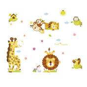 Winhappyhome Cute Animals Nursery Wall Stickers for Kids Room Decoration Removable Art Decals