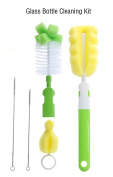 CaLeQi 5 in 1 Cleaning Brush Kit, Bottle Brush Cleaning Set, Tube Brush for Cups Sports Bottle Baby Bottle, Green