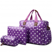 Miss Lulu 4 PCS Baby Nappy Nappy Changing Bag Set Large Tote Handbag Butterfly Flower Polka Dots Elephant Dog Cat Bird Print