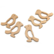Coskiss 10pcs Handmade Wooden Teether Woodpecker Pendent Organic Natural Beech Wooden Toy Hand Cut Animal DIY Jewellery Making Accories
