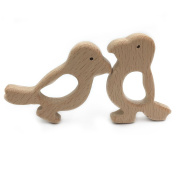 Coskiss 2pcs Handmade Wooden Teether Woodpecker Pendent Organic Natural Beech Wooden Toy Hand Cut Animal DIY Jewellery Making Accories