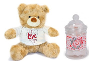 I Love You Teddy Bear and Whole Lot of Love Mini Bath Hearts Gift Set