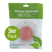 Konjac Sponge Pink Clay for mature and tired skin - Value Pack of 3