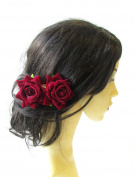 2 x Deep Red Rose Flower Burgundy Hair Pins Vintage Rockabilly Clip Bridal 1507 *EXCLUSIVELY SOLD BY STARCROSSED BEAUTY*