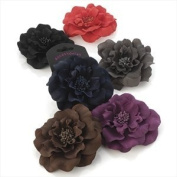 H20312 Brown Fabric Flower Clip wwith beaded centre Hair Accessory by Amberjewellery