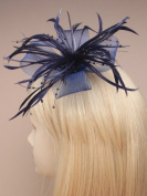 Ladies New Stylish Dark Navy Blue Large Looped Net and Feather Flower Wedding Fascinator with Beads Detail by Lady Isla Fashion