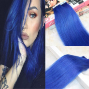 Seamless Tape In Hair Extentions Colour Blue 20pcs/50g Human Remy Hair Extensions Silky Straight 60cm