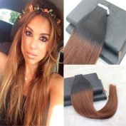 Seamless Tape In Hair Extentions Ombre Colour 1B# to Auburn Brown 30# 20pcs/50g Human Remy Hair Extensions Silky Straight 60cm