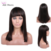 Life Diaries 180% Density Straight Glueless Silk Top Lace Front Wigs 8A Unprocessed Brazilian Virgin Human Hair Natural Hairline Bleached Knot Free Part