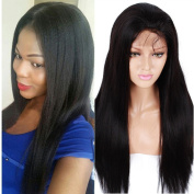 Life Diaries 180% Density Straight Yaki Glueless 10cm Part Lace Front Wigs 8A Unprocessed Brazilian Virgin Human Hair Natural Hairline Bleached Knot Free Part