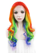 Rechoo 60cm Mix Colour Fashion Body Wave Synthetic Lace Front Hair Wig for Girl,Lady,Woman