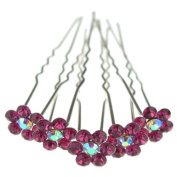 Jewellery of Lords 10 Fuchsia Colour Crystal AB Flower Wedding Bridal Bride Prom Hair Bobby Pin