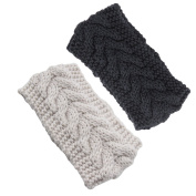 Xcellent Global 2 Pcs Women Knitted Headband Ear Warmers Head Wrap, Beige and Dark Grey BT030