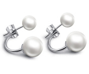 Butterme Fashion Women's Earrings 925 Sterling Silver Double Ball Joint Necklace and Earrings