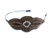 Bronze Beads Pearls Hair Fascinator with centre clear rhinestones on ultra slim matching headband - Flapper, 20's,