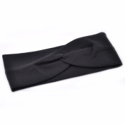Women Stylish Wide Knot Plain Hair Headbands , Stretch Fabric Band, Black by Cloud9Basic