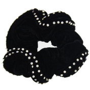 Black Bright Diamonds Velvet Ladies Hair Accessories Women Scrunchies by Mytoptrendz