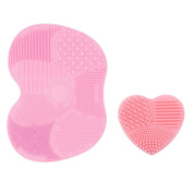 I-Dragon Silicon Makeup Brush Cleaning Mat Makeup Brush Cleaner Pad 1 Apple Shaped Large Mat and 1 Heart Shaped Small Mat Scrubber Brush Cleaner