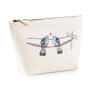 'I Love you' Pigeon Print Make up Pouch Canvas Bag - Valentine's Day