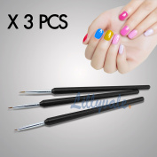 3pcs Tiny Acrylic Nail Art Design Decoration Brush Painting Drawing Pen Tool by Lillyvale