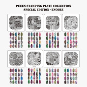 Pueen Nail Art Stamp Collection - Encore 01-04 NEW Invention Set of 4 Double Sided All You Can Stamp Full Size Stamping Image Plates Manicure DIY (Infinite Images with Your Creativity) Now with Bonus Storage Case-BH000298 [Special Edition]