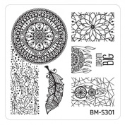 Stamping Stencil Plate BM S301 Bundle Monster Ornament Tribal For Nail Art