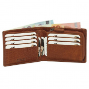 Luxury Leather Wallet Purse Coin Purse with Zip Various Colours 12 cm Black/Brown/cognac