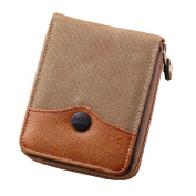 Canvas leather Wallet , Double layer Classic Bifold Purse with Card Holder for men and Teenagers