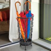 HOMCOM Antique Metal Round Umbrella Stand Floral Design Vintage Canes Walking Stick Holder Rack
