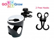 Stroller Cup Holder - Universal Cup Holder Fit Baby Stroller, Bike, Bicycle, Car, Buggy, Wheelchair, Walker, Rollator | With Free Stroller Hook Pair