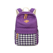 Yvon Nelee Dots Youth Boys Girls School Backpack Rucksack Daypack for School College Women Outdoor Leisure Canvas Shoulder Bag Roomy Pockets for Laptop Book Handy Pencil Case and Key Purple purple