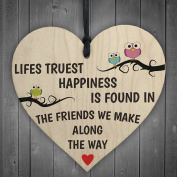 Red Ocean Lifes Truest Happiness Is Friends Wooden Hanging Heart Friendship Gift Plaque