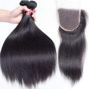 Lemoda Hair 20 22 24 and 46cm Closure Peruvian Straight Virgin Hair 3 Bundles With Closure Unprocessed Human Hair Weave Extensions