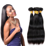 XCCOCO Hair Products Indian Virgin Remy Straight Hair Weaves Unprocessed Human Hair Extension Silky Straight 4 Bundles 400g Natural Black,50cm X4