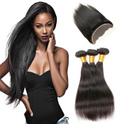 Charming 7A Brazilian Straight Lace Frontal Closure with Bundles, Full Lace Frontal Closure Ear to Ear (13x4) with Bleached Knots, Brazilian Virgin Hair 3 Bundles, Natural Colour