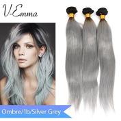 "V-Emma Unprocessed 1B/Grey Colour Straight 100% Malaysian Virgin Human Hair 8""8""8"""