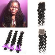 Three Part Lace Top Closure with Hair Bundles,Unprocessed Peruvian Loose Deep Wave Virgin Human Hair 3 Bundles with Free Part Closure 10cm x 10cm