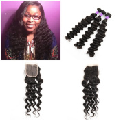 Brazilian Loose Deep Wave Virgin Human Hair 3 Pcs with Closure 10cm x 10cm Free Part or Three Part or Middle Part Lace Top Closure